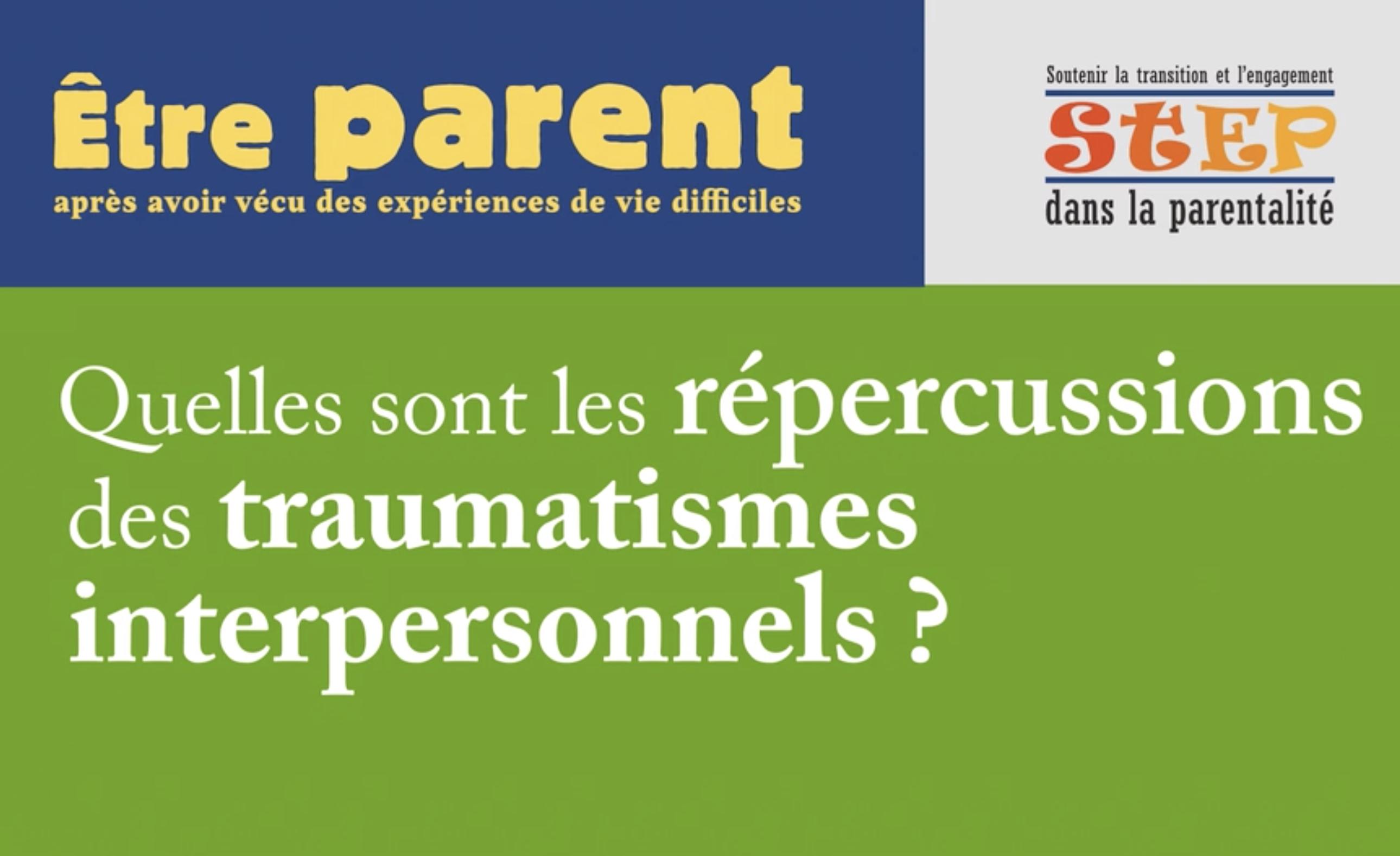 Des capsules vidéos sur les traumatismes interpersonnels