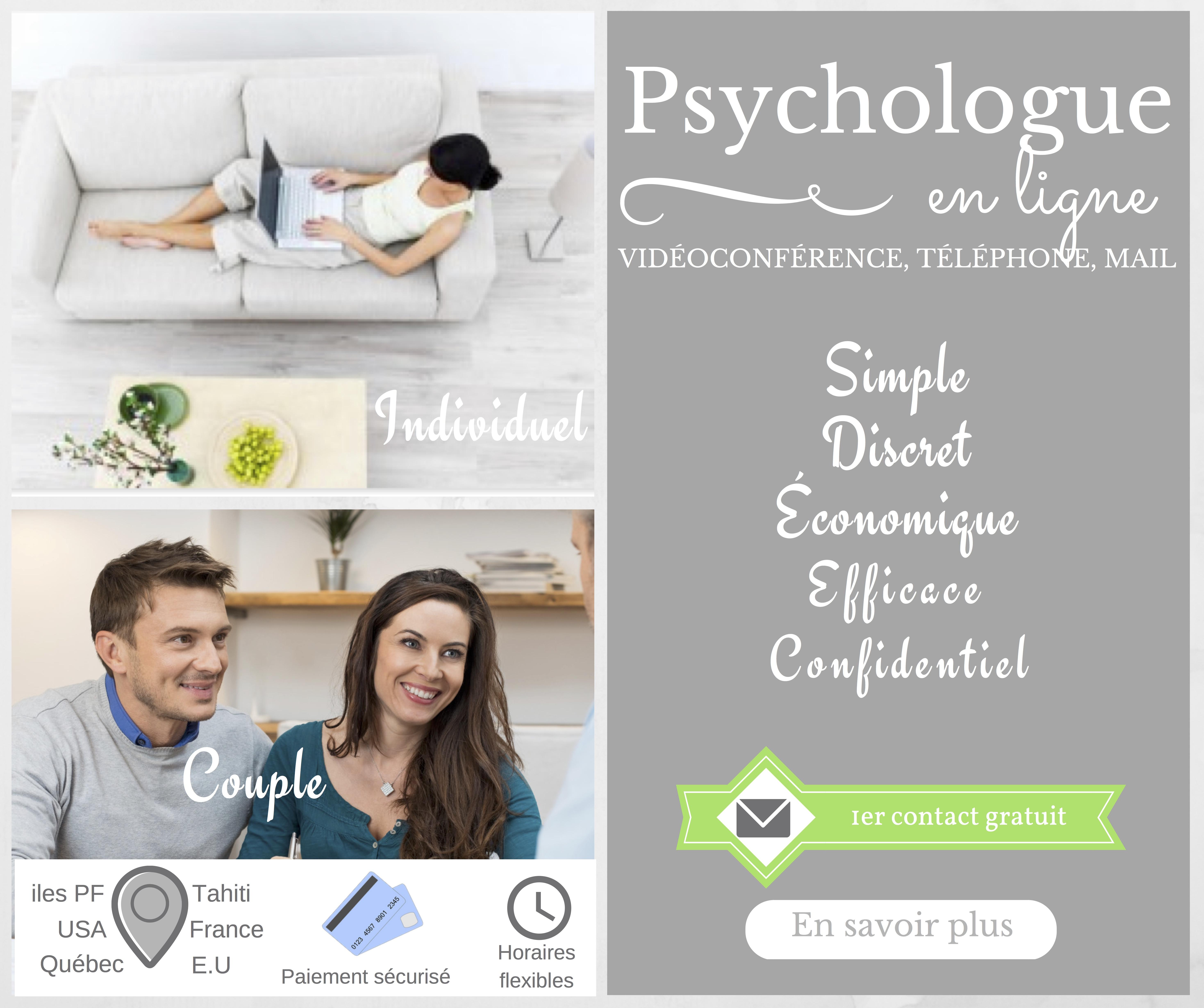 Psychologue en ligne - vidéoconférence, téléphone, mail